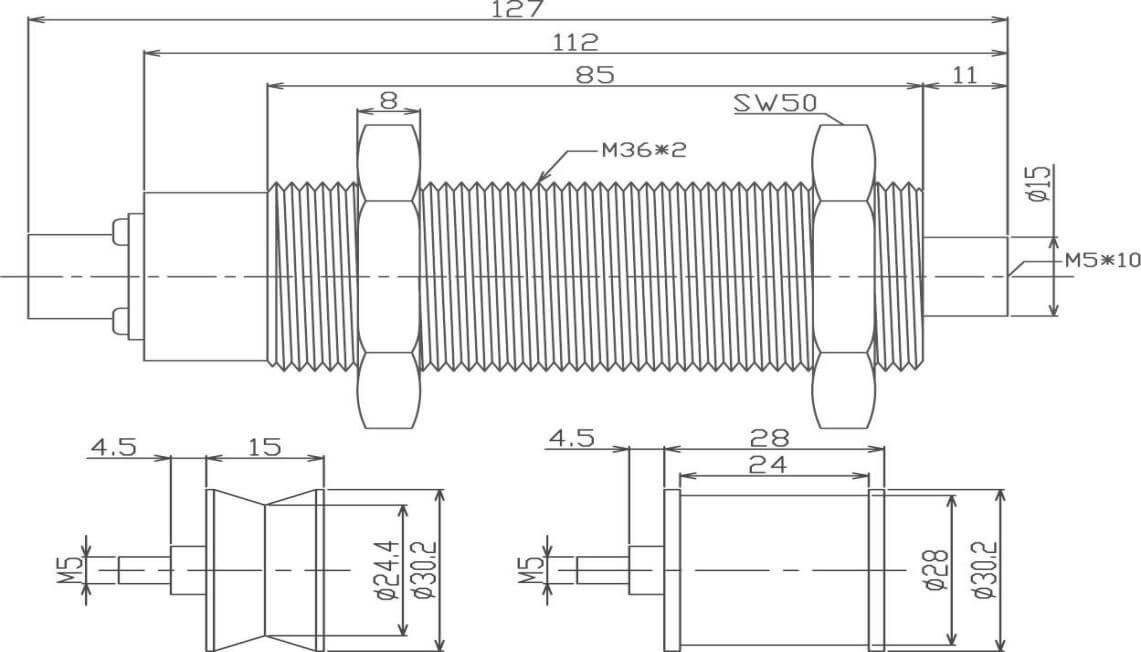 Single roller tension sensor